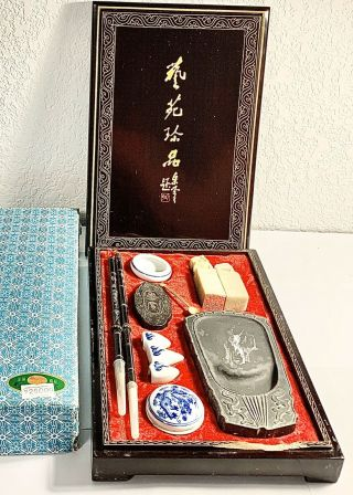 Vintage Chinese Calligraphy Set Wood Lacquered Box Unique