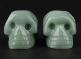 2 Natural Dongling Jade Hand Carving Skull Statue Exorcism Christmas Gift Old