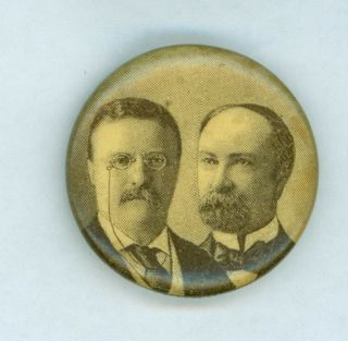 1904 President Theodore Roosevelt Fairbanks Campaign Jugate Pinback Button Brown