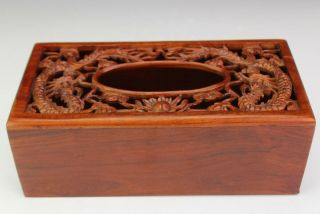 Vintage Chinese Export Carved Wood Pierced Dragon Facial Tissue Box Holder Mws