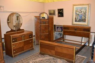 Mid Century Modern Art Deco Waterfall Full Size Bedroom Set Vintage Furniture