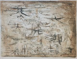 Zao Wou Ki Signed Vintage Chinese Abstract Color Lithograph 1954