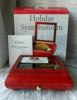 Mr.  Christmas Holiday Symphonium Mahogany Wood Music Box 16 Discs 125