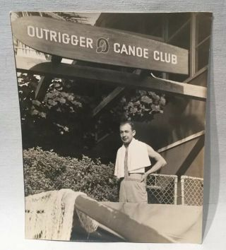 Ww 2 Large Real Picture Photo Outrigger Canoe Club Entrance W/solier Honolulu