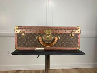 Louis Vuitton Alzer 60 Vintage Monogram Trunk Suitcase Great Patina
