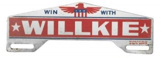 Win With Wendell Willkie 1940 Political Eagle License Plate