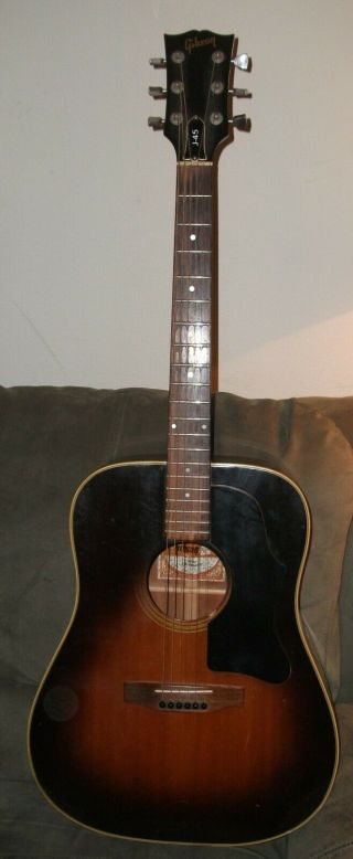 Gibson J - 45 Acoustic Guitar Deluxe 1980? Workhorse,  Vintage,  Case