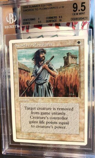 Vintage Mtg | Bgs 9.  5 Summer Magic Swords To Plowshares,  W/10 Sub,
