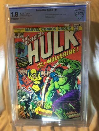 """ The Incredible Hulk "" 181; 1st Wolverine White Pages Mvs Stamp Cbcs Graded"