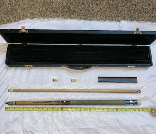 Vintage By Palmer Pool Cue Hard Case Inlay Metal To Metal Joint 4 Point
