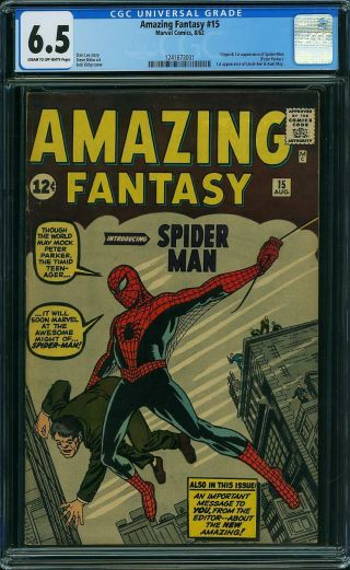 Fantasy 15 Cgc 6.  5 Fn,  Unrestored Marvel 1st Spider - Man Cr/ow Pages