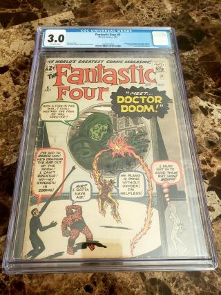Fantastic Four 5 Cgc 3.  0 Off - White Pages 1st Apperance Of Dr.  Doom