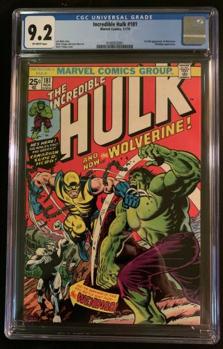 Incredible Hulk 181 Cgc 9.  2 Ow Marvel Bronze Age 1974 - 1st Appearance Wolverine