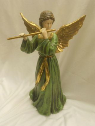 "Christmas Angel Green And Gold Angel Playing The Flute 14 1/4 "" Tall"