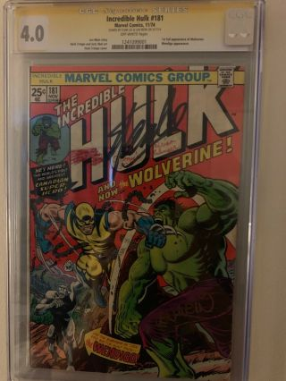 The Incredible Hulk 181,  Signed By Stan Lee And Len Wein,  Cgc Ss 4.  0