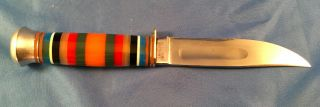 Vintage Hunting Knife With Multi - Colored Handle Made In Germany