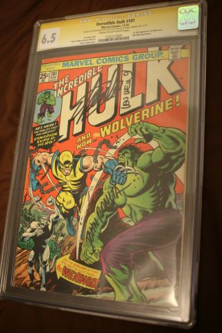 The Incredible Hulk 181 Cgc 6.  5 Signed By The Late Stan Lee 1st App Wolverine