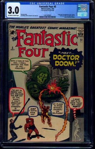 Fantastic Four 5 Cgc 3.  0 Ow/w 1st Appearance Of Dr.  Doom