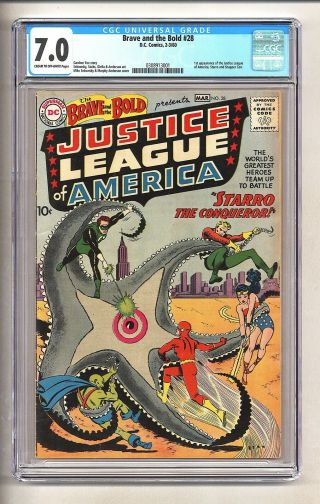 Brave And The Bold 28 (cgc 7.  0) C - O/w Pages; 1st Jla; $11,  800 In Guide (c 25816