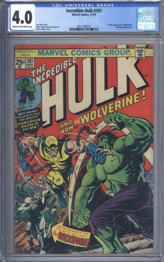 Incredible Hulk 181 Cgc 4.  0 Vol 1 Mid Grade 1st App Of Wolverine