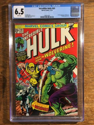 The Incredible Hulk 181 (11/74) Cgc 6.  5,  White Pages,  1st Full Wolverine
