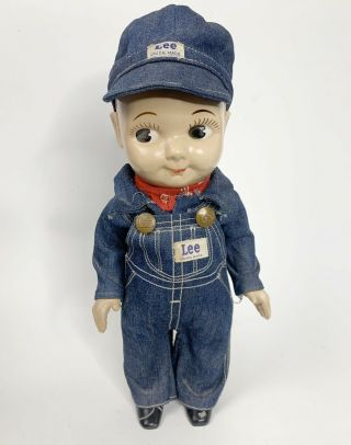 Vintage Buddy Lee Doll.  Union Made Denim Overalls And Hat 1950s.  Composition