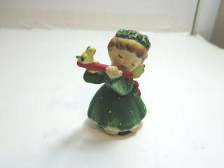 "Vintage Lefton Ceramic Young Girl Playing The Flute 3 1/2 "" Tall"