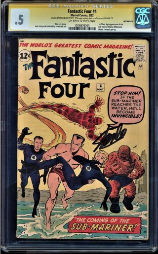 Fantastic Four 4 Cgc.  5 Ss Stan Lee 1st Silver Age App Sub - Mariner 1206676003