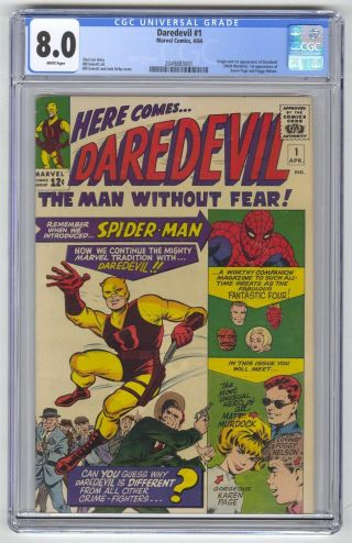 Daredevil 1 Cgc 8.  0 Marvel Mega Key 1st Dd Matt Murdock White Pages
