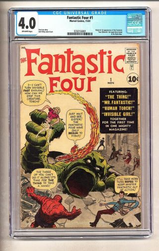 Fantastic Four 1 (cgc 4.  0) O/w Pages; Origin/1st App.  Ff And Mole Man (c 25823)