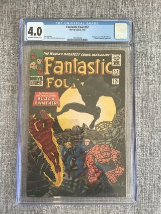 Fantastic Four 52 Cgc 4.  0 (ow - W) 1st Appearance Of The Black Panther