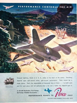 Wwii Ad Pesco Bombers Aircraft Aviation Army Borg Warner Cleveland Oh