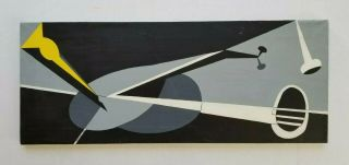 Vintage 1960s Oil Painting Mid Century Modern Constructivism Pop Abstract Signed