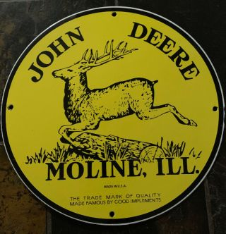 Vintage John Deere Metal Sign Made In U.  S.  A 12 Inches