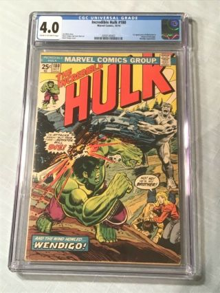Incredible Hulk 180 Comic Book Cgc 4.  0 Marvel 1974 1st Wolverine In Cameo