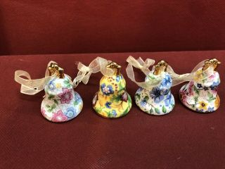 Vintage Small Porcelain Collector Bell Hand Painted Floral Set Of 4