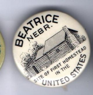 1936 Pin Log Cabin First Homestead In The Usa,  Paper Insert Pinback