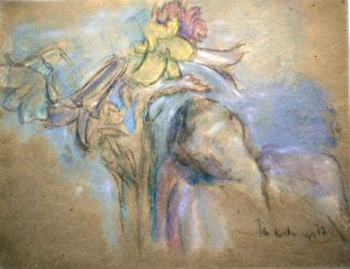 """Jan Rauchwerger Signed Painting """" Girl With Lily """" Israel Russia Artist Jewish Art"""
