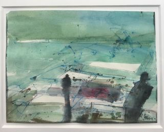 John Hultberg American Provincetown Expressionist Mixed Media Signed Listed 2003