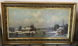 Anton Muller Oil On Canvas - Winter Skate Scene