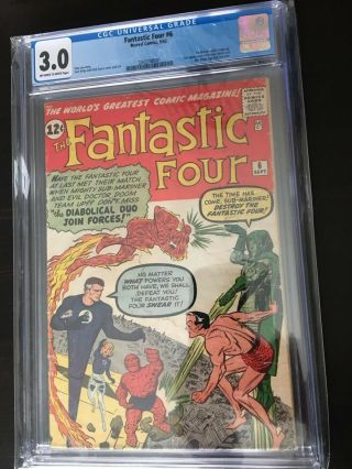 Fantastic Four 6 Cgc 3.  0 Ow To White Pgs.  1st Villian Team - Up