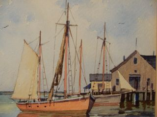 John Cuthbert Hare Watercolor Fishing Boats At Provincetown