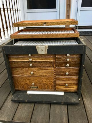 Vintage H Gerstner & Sons Dental Chest Box Cabinet,  Oak,  Model 18,