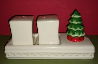 Retired Nora Fleming Salt And Pepper Set With Christmas Tree Mini,