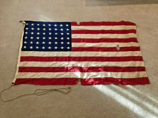 Distressed 48 Star Us Flag Sewn Stripes Printed Stars 3x5 Style A Fast Color