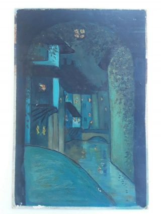 Early 20th C American European Modernist Abstract Oil Signed Illegible
