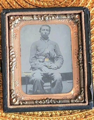 Civil War Believe Confederate Soldier Ambrotype Very Clear Double Armed