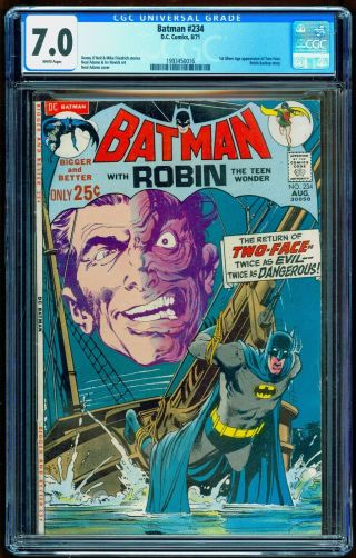 Batman 234 Cgc 7.  0 White Pages 1st First Sa Two - Face Neal Adam Art (1971)