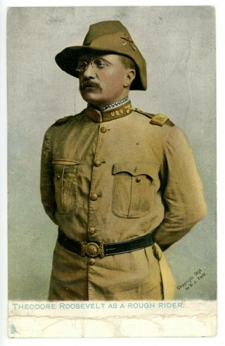 Political - Theodore Roosevelt Dressed As Rough Rider - Postcard Raphael Tuck