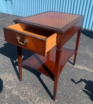 Vintage Leather Top Mahogany End Side Table By Imperial Tables Antique